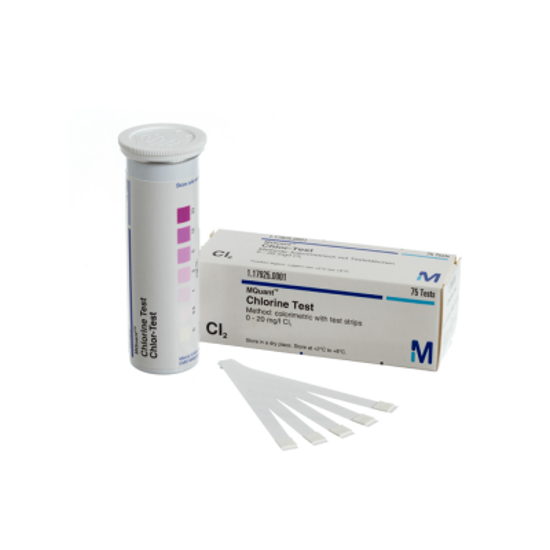Picture of Chlorine Test Method: colorimetric with test strips 0 - 0.5 - 1 - 2 - 5 - 10 - 20 mg/l Cl2 MQuant® / Pack 75 Tests