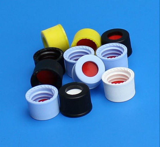 """Picture of 10-425mm Black Open Hole Polypropylene Closure, PTFE/Red Rubber Septa, 0.040"""" / PK 1000"""