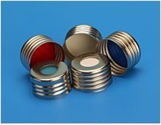 """Picture of 18mm Silver Magnetic (Metal) Closure with 0.060"""" Blue PTFE/Silicone Liner (Shore A 45) / PK1000"""