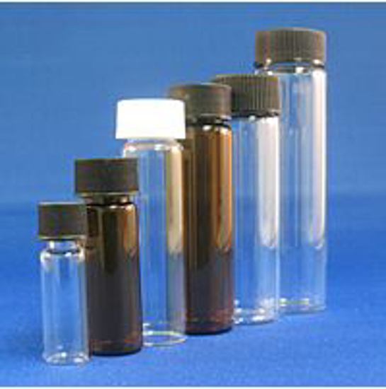 Picture of 6 Dram, 23x85mm Vial, 20-400mm Thread, Black Polypropylene Solid Top Cap, PTFE/F217 Lined (Pack 100)