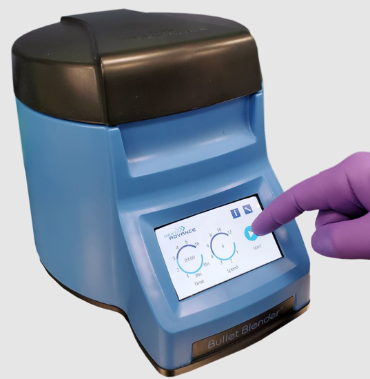 Picture of Homogenizer Bullet Blender Storm Pro, for 24 samples in microcentrifuge tubes. More powerful motor.  Includes starter kit of beads, scoop and tubes. With air cooling, CE certification and touch screen.