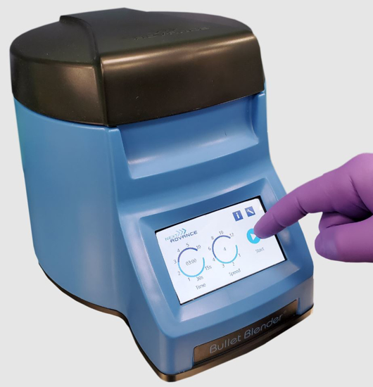 Picture of Homogenizer Bullet Blender Lite, for 12 samples in microcentrifuge tubes. Includes starter kit of beads, scoop and tubes. With air cooling, CE certification and touch screen.